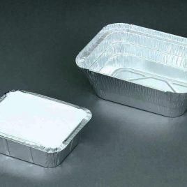 Aluminiumbakjes rechthoekig met opstaande rand en alu/karton deksel